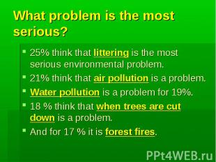 What problem is the most serious?25% think that littering is the most serious en