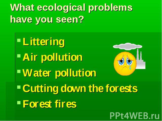 What ecological problems have you seen?LitteringAir pollutionWater pollutionCutting down the forestsForest fires
