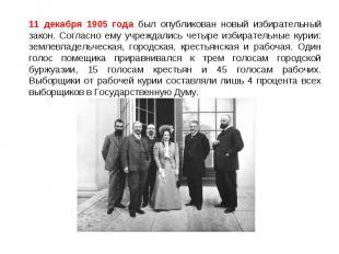 11 декабря 1905 года был опубликован новый избирательный закон. Согласно ему учр