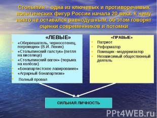 Столыпин – одна из ключевых и противоречивых политических фигур России начала 20