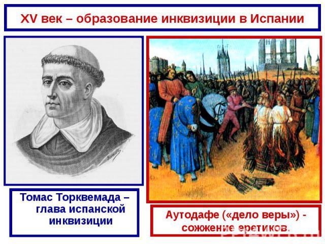 XV век – образование инквизиции в ИспанииТомас Торквемада – глава испанской инквизицииАутодафе («дело веры») - сожжение еретиков.