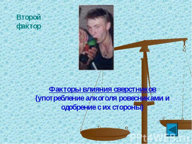 Второй факторФакторы влияния сверстников (употребление алкоголя ровесниками и одобрение с их стороны)