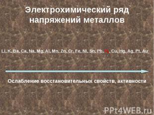 Электрохимический ряд напряжений металловLi, K, Ba, Ca, Na, Mg, Al, Mn, Zn, Cr,