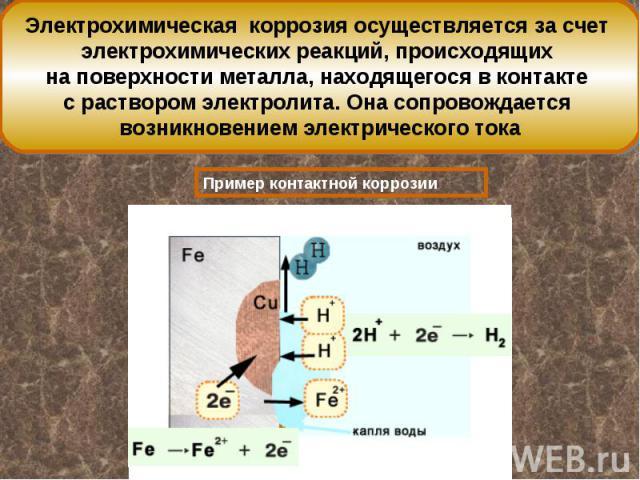 Электрохимическая коррозия осуществляется за счет электрохимических реакций, происходящих на поверхности металла, находящегося в контакте с раствором электролита. Она сопровождается возникновением электрического тока