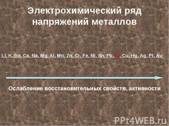 Электрохимический ряд напряжений металловLi, K, Ba, Ca, Na, Mg, Al, Mn, Zn, Cr, Fe, Ni, Sn, Pb, H2, Cu, Hg, Ag, Pt, Au Ослабление восстановительных свойств, активности