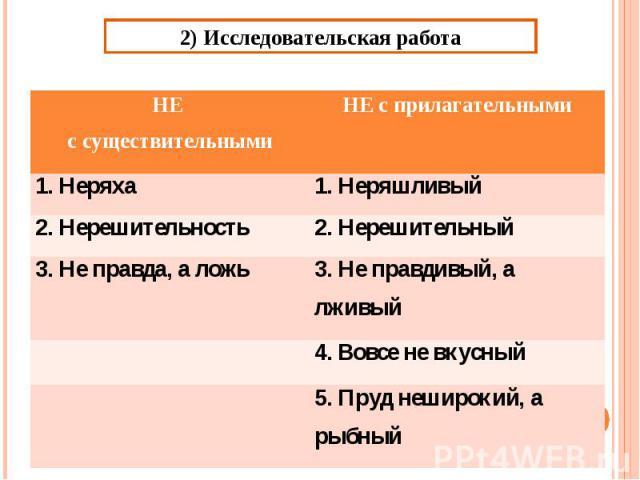 2) Исследовательская работа
