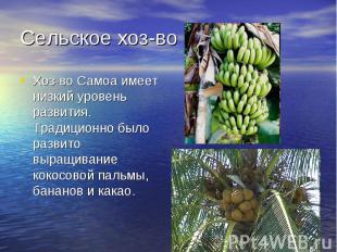 Сельское хоз-воХоз-во Самоа имеет низкий уровень развития. Традиционно было разв