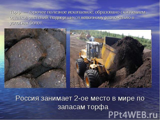 Торф — горючее полезное ископаемое; образовано скоплением остатков растений, подвергшихся неполному разложению в условиях болот.Россия занимает 2-ое место в мире по запасам торфа