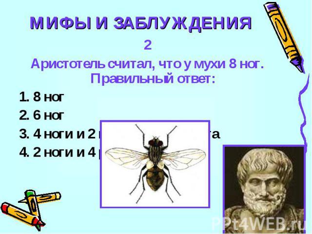 МИФЫ И ЗАБЛУЖДЕНИЯ2Аристотель считал, что у мухи 8 ног. Правильный ответ:1. 8 ног2. 6 ног3. 4 ноги и 2 клешни рудимента4. 2 ноги и 4 руки