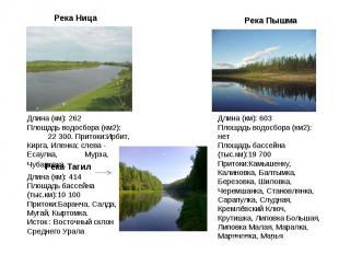 Длина (км): 262Площадь водосбора (км2): 22 300. Притоки:Ирбит, Кирга, Иленка; сл