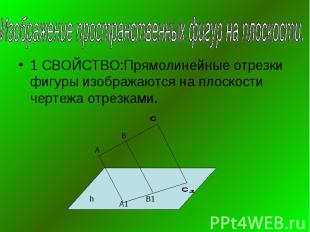 Изображение пространственных фигур на плоскости.1 СВОЙСТВО:Прямолинейные отрезки