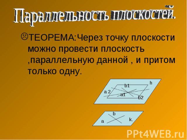 Параллельность плоскостей.ТЕОРЕМА:Через точку плоскости можно провести плоскость ,параллельную данной , и притом только одну.