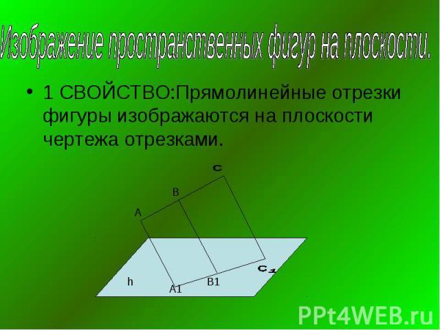 Изображение пространственных фигур на плоскости.1 СВОЙСТВО:Прямолинейные отрезки фигуры изображаются на плоскости чертежа отрезками.
