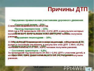 Причины ДТПСтатистика аварийности за 2010 год2010 год в РФ произошло 199 431 (-2