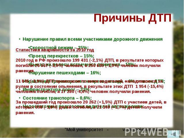 Причины ДТПСтатистика аварийности за 2010 год2010 год в РФ произошло 199 431 (-2,1%) ДТП, в результате которых погибли 26 567 (-3,9%) человек, а 250 635 (-1,9%) человек получили ранения.11 845 (-3,9%) ДТП произошли по вине водителей, находившихся за…