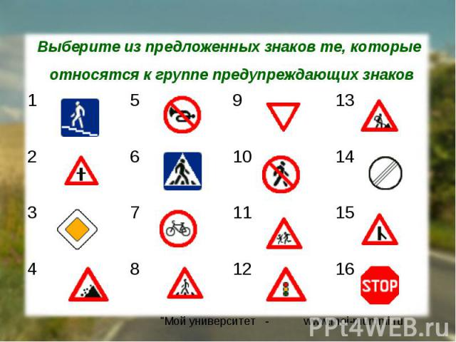 Выберите из предложенных знаков те, которые относятся к группе предупреждающих знаков