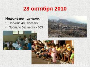 28 октября 2010Индонезия: цунами.Погибло 408 человекПропало без вести - 303