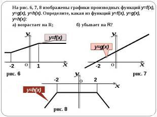 На рис. 6, 7, 8 изображены графики производных функций y=f(x), y=g(x), y=h(x). О