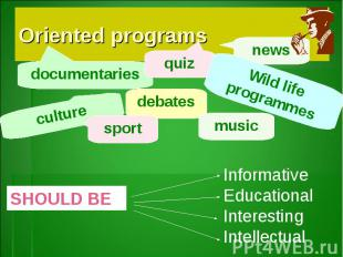 Oriented programsInformativeEducationalInteresting Intellectual