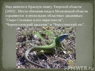 Вид занесен в Красную книгу Тверской области (2002) . Места обитания вида в Моск