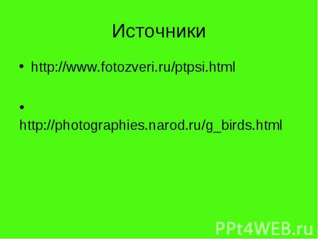 Источникиhttp://www.fotozveri.ru/ptpsi.html http://photographies.narod.ru/g_birds.html
