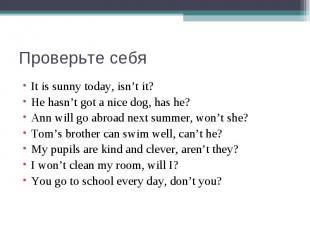 Проверьте себяIt is sunny today, isn't it?He hasn't got a nice dog, has he?Ann w