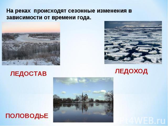 На реках происходят сезонные изменения в зависимости от времени года.