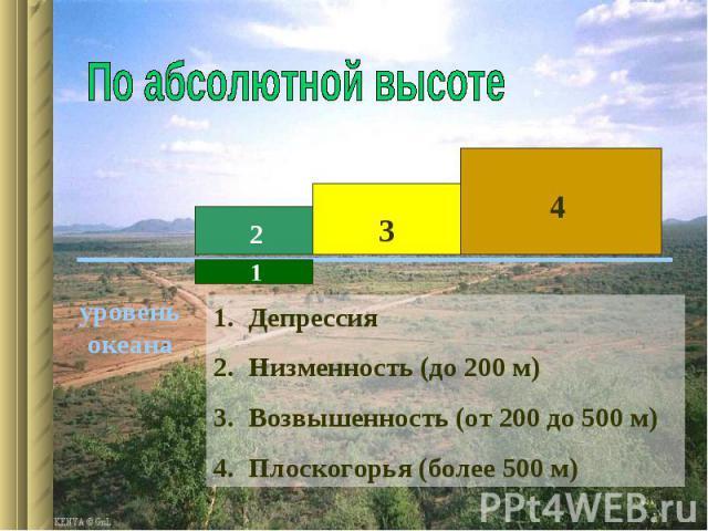 По абсолютной высотеДепрессия Низменность (до 200 м)Возвышенность (от 200 до 500 м)Плоскогорья (более 500 м)