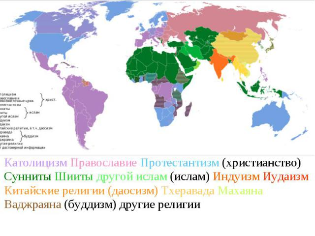 Католицизм Православие Протестантизм (христианство) Сунниты Шииты другой ислам (ислам) Индуизм Иудаизм Китайские религии (даосизм) Тхеравада Махаяна Ваджраяна (буддизм) другие религии