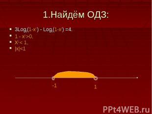 1.Найдём ОДЗ:3Log3(1-x2 ) - Log3(1-x2) =4.1 - x2 >0,X2 < 1,|x|