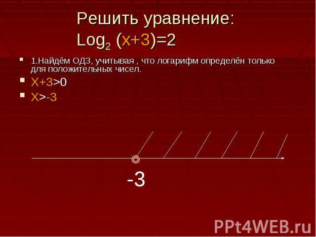 Решить уравнение: Log2 (x+3)=21.Найдём ОДЗ, учитывая , что логарифм определён только для положительных чисел.Х+3>0X>-3