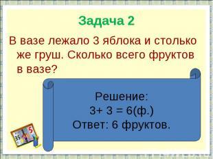 Задача 2В вазе лежало 3 яблока и столько же груш. Сколько всего фруктов в вазе?Р