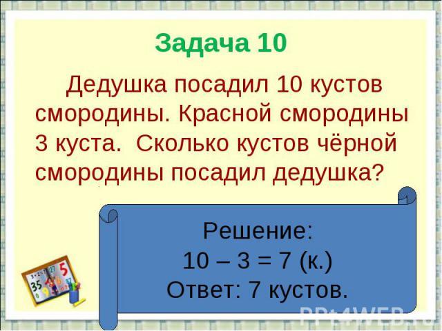 Задача 10 Дедушка посадил 10 кустов смородины. Красной смородины 3 куста. Сколько кустов чёрной смородины посадил дедушка?Решение:10 – 3 = 7 (к.)Ответ: 7 кустов.