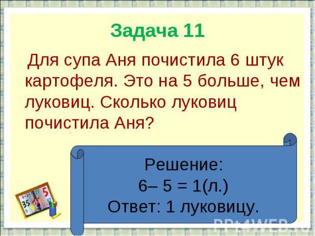 Задача 11 Для супа Аня почистила 6 штук картофеля. Это на 5 больше, чем луковиц. Сколько луковиц почистила Аня?Решение:6– 5 = 1(л.)Ответ: 1 луковицу.