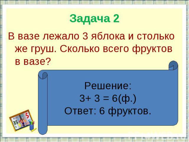 Задача 2В вазе лежало 3 яблока и столько же груш. Сколько всего фруктов в вазе?Решение:3+ 3 = 6(ф.)Ответ: 6 фруктов.