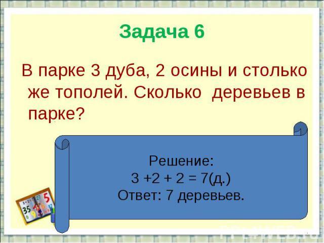 Задача 6 В парке 3 дуба, 2 осины и столько же тополей. Сколько деревьев в парке?Решение:3 +2 + 2 = 7(д.)Ответ: 7 деревьев.