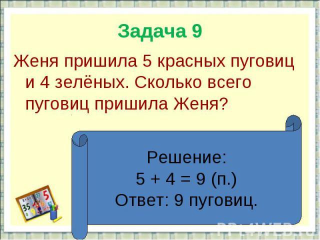 Задача 9Женя пришила 5 красных пуговиц и 4 зелёных. Сколько всего пуговиц пришила Женя?Решение:5 + 4 = 9 (п.)Ответ: 9 пуговиц.