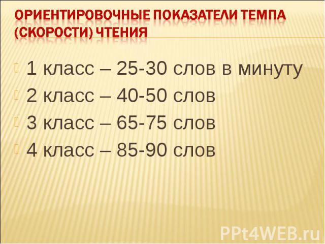 Ориентировочные показатели темпа (скорости) чтения1 класс – 25-30 слов в минуту2 класс – 40-50 слов 3 класс – 65-75 слов4 класс – 85-90 слов