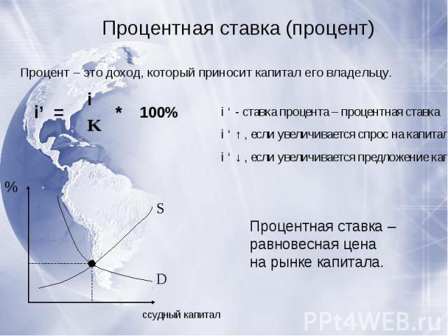 Процентная ставка (процент)Процент – это доход, который приносит капитал его владельцу.i ' - ставка процента – процентная ставкаi ' ↑ , если увеличивается спрос на капиталi ' ↓ , если увеличивается предложение капиталаПроцентная ставка – равновесная…