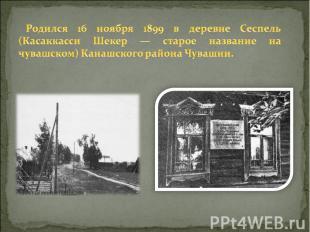 Родился 16 ноября 1899 в деревне Сеспель (Касаккасси Шекер — старое название на