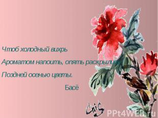 Чтоб холодный вихрьАроматом напоить, опять раскрылисьПоздней осенью цветы. Басё