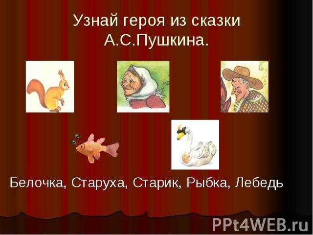 Узнай героя из сказки А.С.Пушкина.Белочка, Старуха, Старик, Рыбка, Лебедь