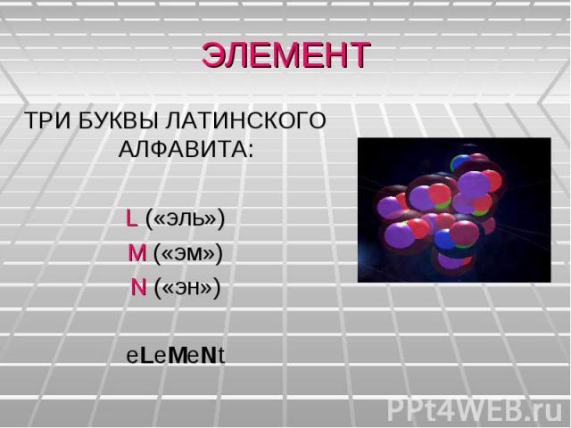 ЭЛЕМЕНТТРИ БУКВЫ ЛАТИНСКОГО АЛФАВИТА:L («эль»)M («эм»)N («эн»)eLeMeNt