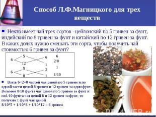 Способ Л.Ф.Магницкого для трех веществНекто имеет чай трех сортов –цейлонский по