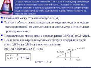 От двух кусков сплава с массами 3 кг и 2 кг и с концентрацией меди 0,6 и 0,8 отр