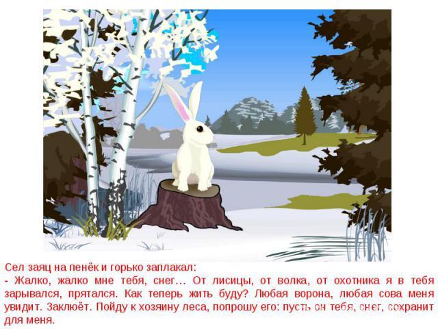 Сел заяц на пенёк и горько заплакал:- Жалко, жалко мне тебя, снег… От лисицы, от волка, от охотника я в тебя зарывался, прятался. Как теперь жить буду? Любая ворона, любая сова меня увидит. Заклюёт. Пойду к хозяину леса, попрошу его: пусть он тебя, …