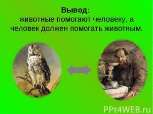 Вывод: животные помогают человеку, а человек должен помогать животным.
