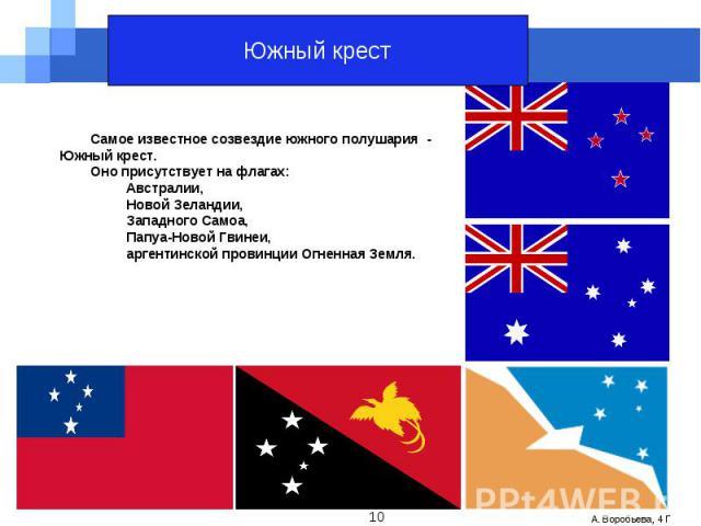 Южный крестСамое известное созвездие южного полушария - Южный крест.Оно присутствует на флагах: Австралии, Новой Зеландии, Западного Самоа, Папуа-Новой Гвинеи, аргентинской провинции Огненная Земля.