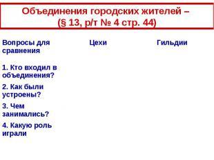 Объединения городских жителей – (§ 13, р/т № 4 стр. 44)