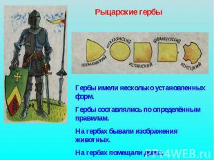 Рыцарские гербы Гербы имели несколько установленных форм. Гербы составлялись по